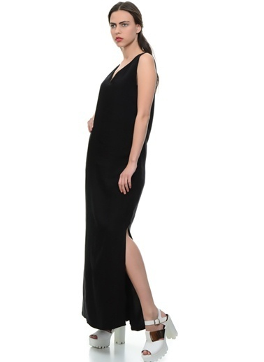 Limon Company V Yaka Yırtmaçlı Uzun Elbise Siyah